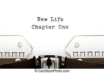 chapitre, nouvelle vie, une, machine écrire