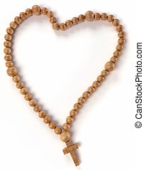 Chaplet or rosary beads heart shape over white background