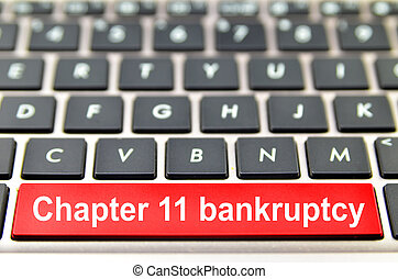 Chapter 11 bankruptcy word on computer space bar
