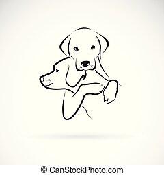 chaque, pet., chiens, étreinte, autre, labrador, blanc,...