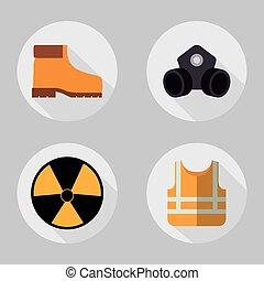 chaqueta amarilla, máscara, biohazard, botas, icon., vector,...