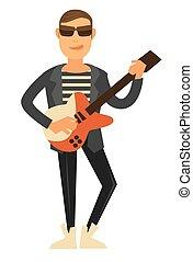 chaqueta, cantante, gafas de sol, eléctrico, cuero, guitarra, roca
