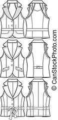 chaqueta, chaleco, dama, formal