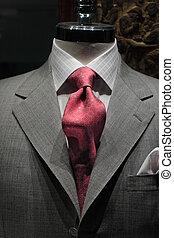 chaqueta, corbata roja, gris