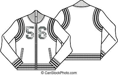 chaqueta, damas, beisball, estilo