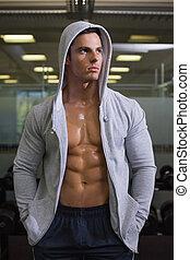chaqueta, gimnasio, capucha, muscular, hombre