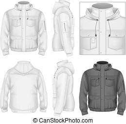 chaqueta, hombres, vuelo, capucha