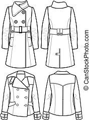 chaqueta, lana, dama