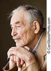 chaqueta, moustaches, viejo