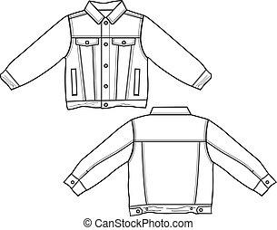 chaqueta, niño, tela vaquera