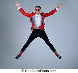 chaqueta, saltar, diversión, elegante, teniendo, rojo, ...