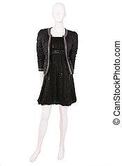 chaqueta, vestido, poco, negro, maniquí