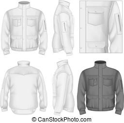 chaqueta, vuelo, hombres, diseño, plantilla