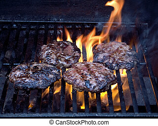 Char-broiled - This is a shot of some burgers grilling.