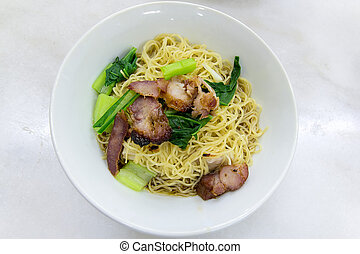 Char Siew Barbecue Pork Wanton Noodles Closeup