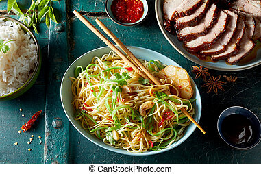 Char siu marinated spicy pork with roasted noodles