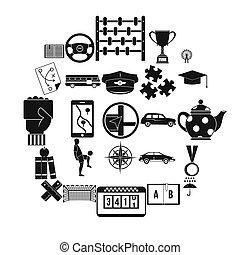 Charabanc icons set, simple style