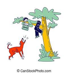 character., ベクトル, 動物, マレ, 線である, 一かじり, イラスト, 道具箱, 跳躍, 木, 怒る, 犬, モデル, 下に, territory., つらい, 吠える, attack., handyman, 保護しなさい, 回避, 手, おびえさせている, ペット