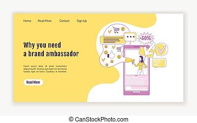 character., 大使, 平ら, ホームページ, マーケティング, web ページ, 着陸, 社会, 媒体, 旗...
