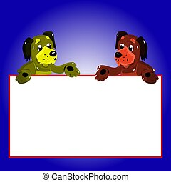 Character, 2 dogs with empty frame for writing, cartoon on blue background,