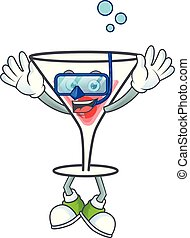Character a diving in the cartoon cocktail