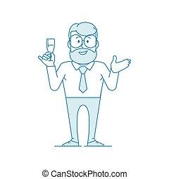 Character - a man in glasses holds a glass of wine in his hand.