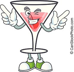 Character a wink in the cartoon cocktail