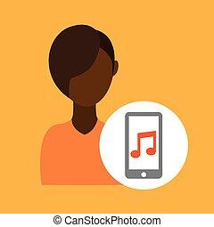 character afroamerican smartphone music application vector...