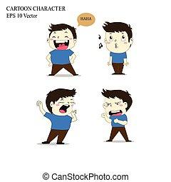 character., bakgrund, tecknad film, isolerat, vit