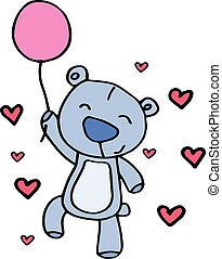 Character bear with balloon vector