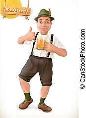 character., bier, vrolijk, vector, man, 3d, oktoberfest., spotprent, pictogram