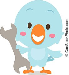 Character blue bird with tools