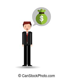 character businessman with bag money
