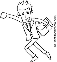 Character businessman with hand draw