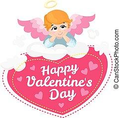 character., card., anjo, valentines, saudação, cupid, isolado, day., vetorial, bebê, cloud., caricatura, feliz, asas, mentindo, illustration.
