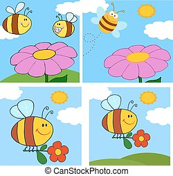character., caricatura, cobrança, abelha