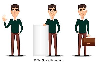 character., caricatura, hombre de negocios