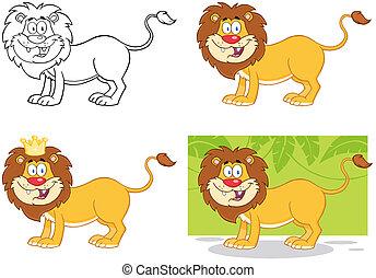 character., cartone animato, collezione, leone