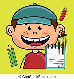character cartoon child notebook