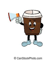 Character cartoon coffee cup with megaphone. Design template vector