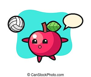Character cartoon of apple is playing volleyball
