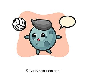 Character cartoon of asteroid is playing volleyball