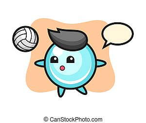 Character cartoon of bubble is playing volleyball
