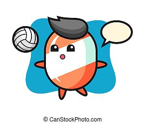 Character cartoon of candy is playing volleyball