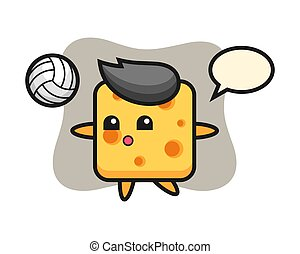 Character cartoon of cheese is playing volleyball
