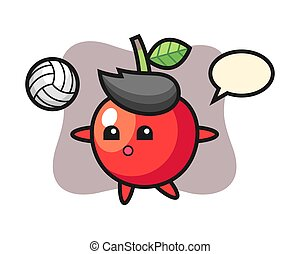 Character cartoon of cherry is playing volleyball