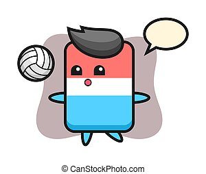 Character cartoon of eraser is playing volleyball