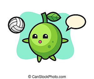 Character cartoon of lime is playing volleyball