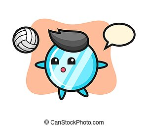 Character cartoon of mirror is playing volleyball