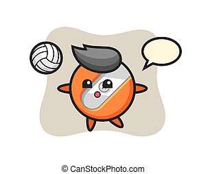 Character cartoon of pencil sharpener is playing volleyball